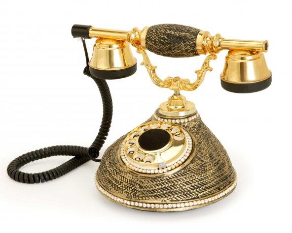 Damla Siyah Swarovski Taşlı Telefon
