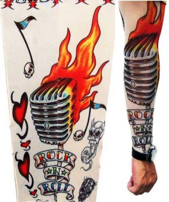 Mikrofon Desenli Giyilebilir Dövme