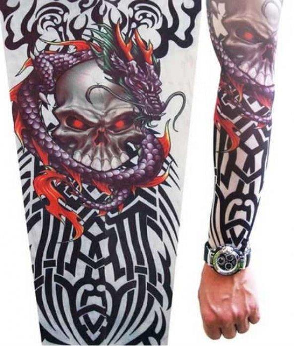 Giyilebilir Dövme İskelet Motifli