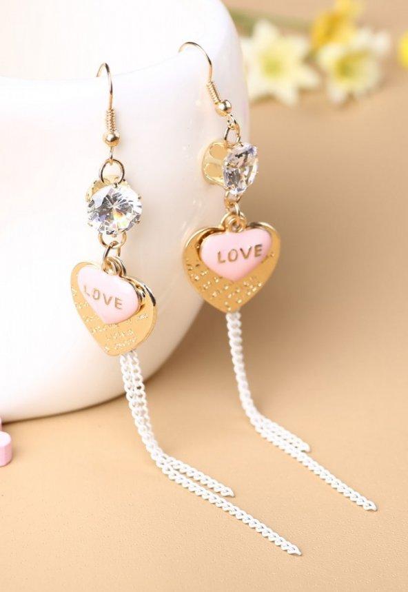 Angelsin Love Yazılı Kalpli Taşlı Küpe