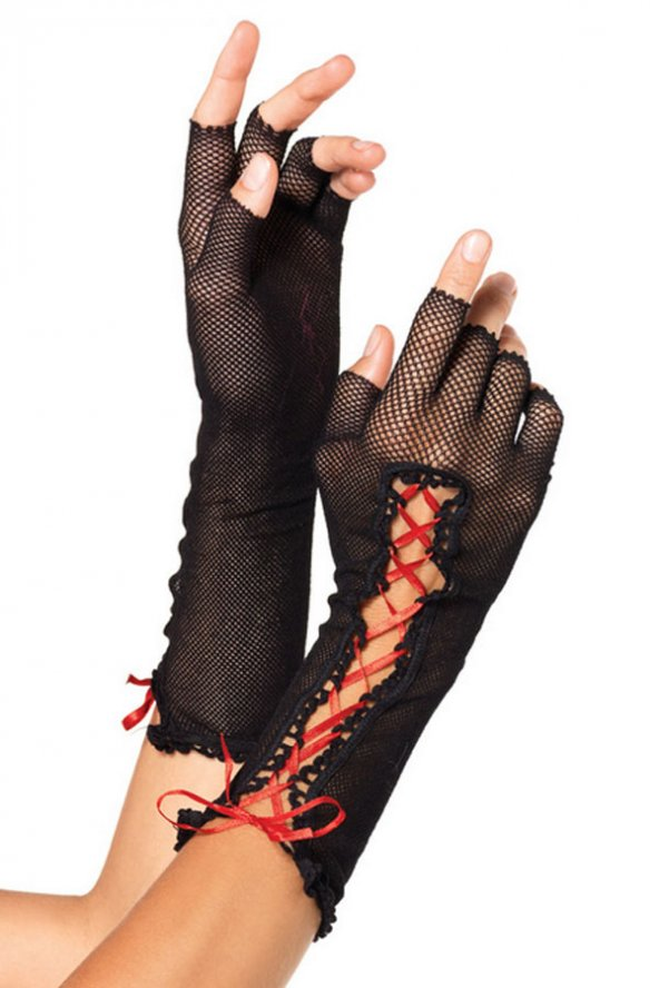Merry See Siyah Dantel Kırmızı İpli Eldiven