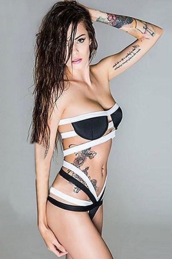 Siyah Beyaz Bikini