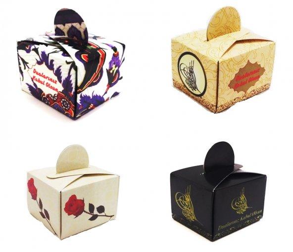 mevlüt şekeri kına kutusu hediyelik lokumluk kutu (50 adetli) 4 farklı seçenek