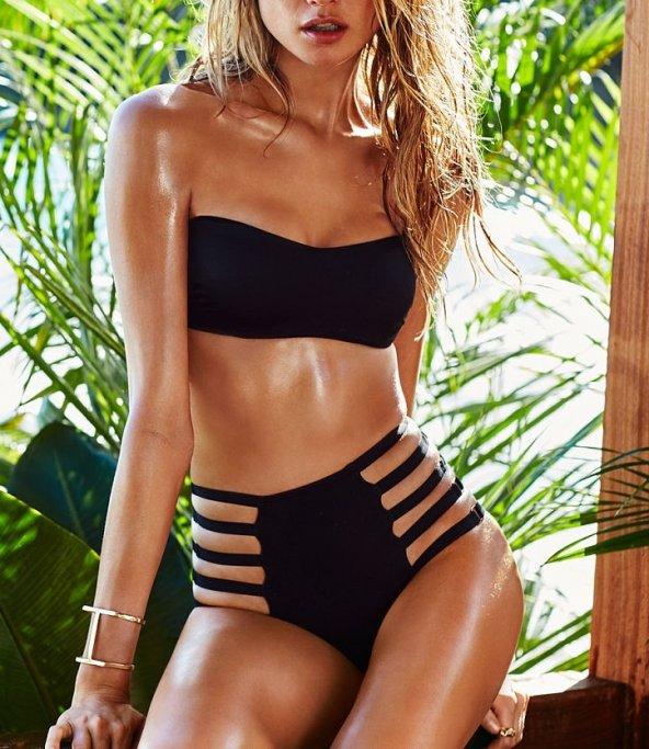 Siyah Alt Dekolteli Yüksek Bel Bikini