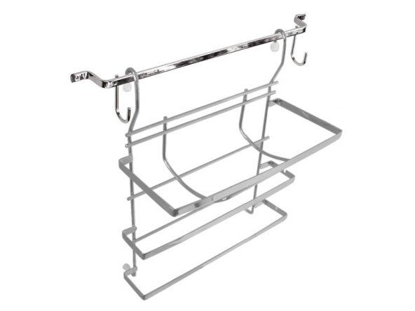 Mutfak Üçlü Folyoluk + Askı Sistemi (Krom) - Mabello