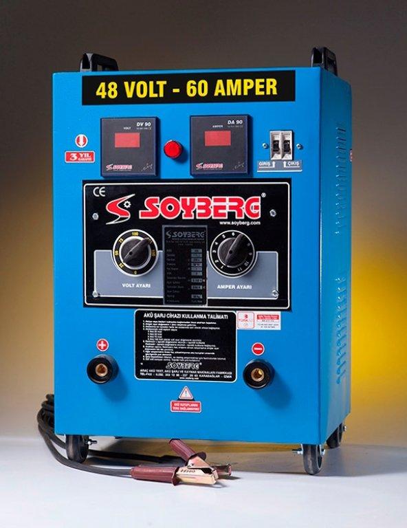 Soyberg 460 4 Akülük Manuel Akü Sarj Cihazı 48 V, 60 A