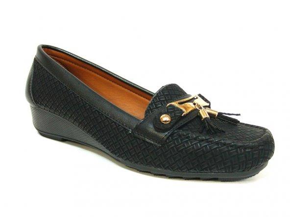 Merry Pace 1503 Siyah Anatomik Dolgu Topuk Ayakkabı