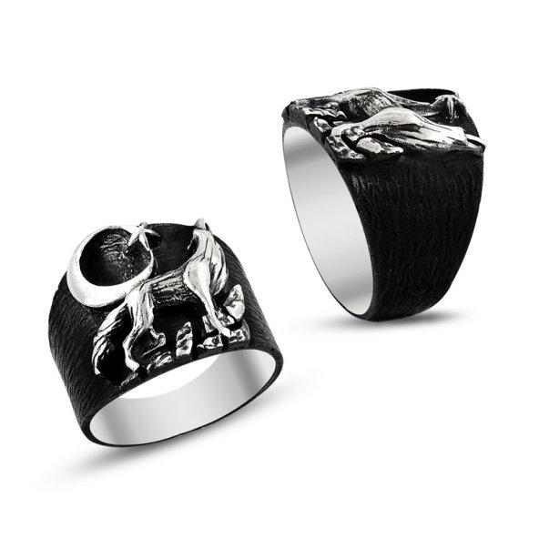 Ay Yıldız ve Bozkurt İşlemeli 925 Ayar Gümüş Erkek Yüzüğü
