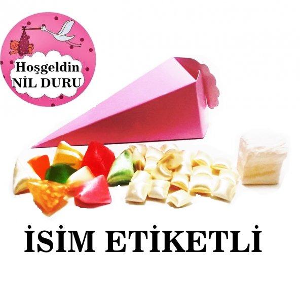 bebek mevlüt şekeri mevlid hediyesi 10 adet külah içi dolu şekerli isim etiketli