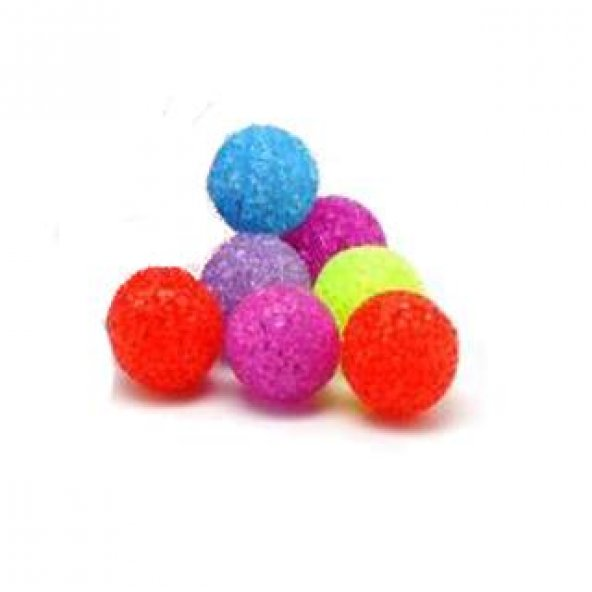 Karışık Renkli Zilli Parlak Kedi Topu 5 Cm