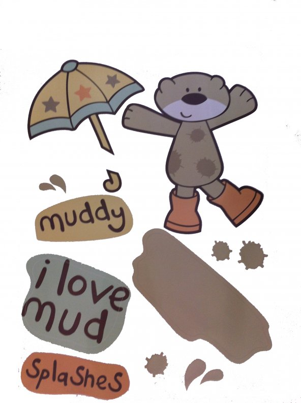 Duvar süsü (sticker) çamurlu ayı desen  pvc