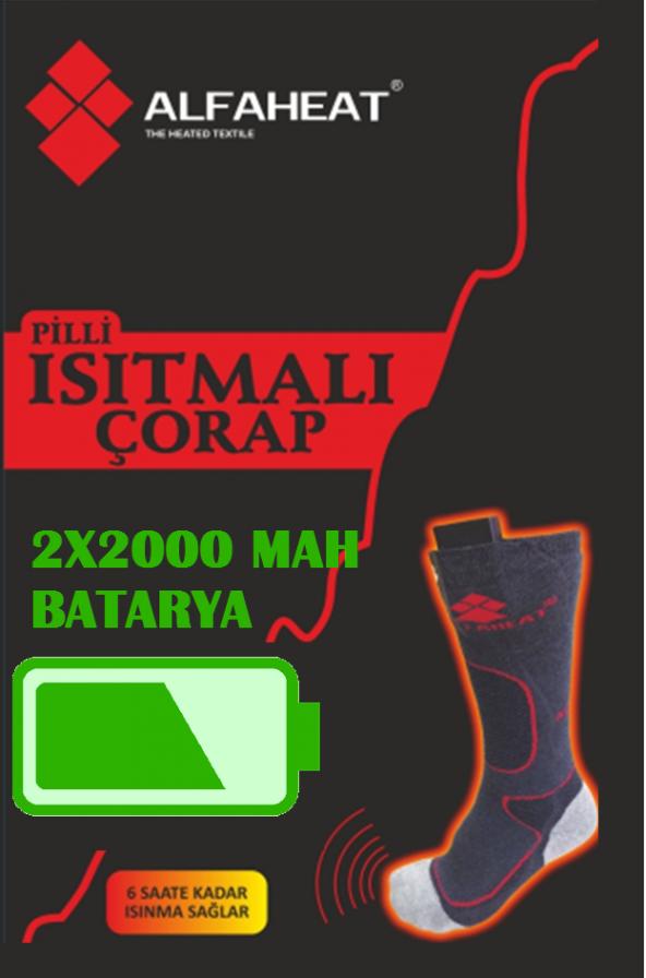 Alfaheat 2000MAH Şarjlı Isıtmalı Çorap