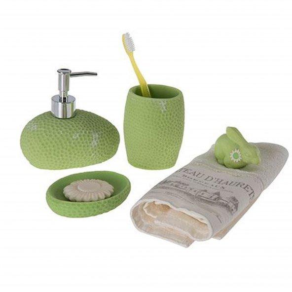 Yeşil petek desenli 3 lü banyo seti