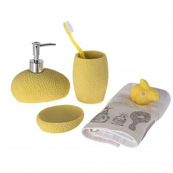 Sarı petek desenli 3 lü banyo seti