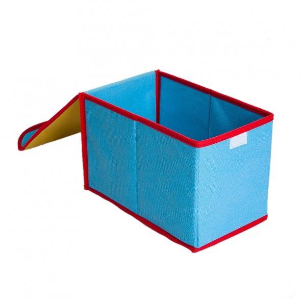 Saklama Kutusu Sarı,Mavi Renkli Kumaş