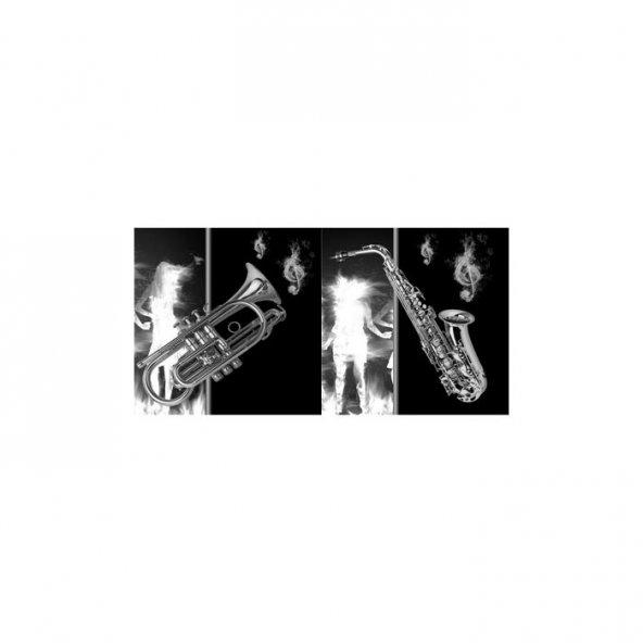 Musical 2 Parça Kanvas Tablo 80X40 Cm