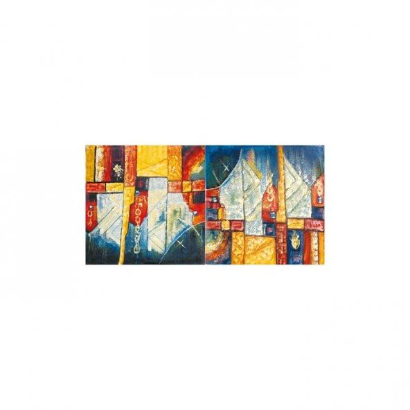 Solid Shapes 2 Parça Kanvas Tablo 80X40 Cm