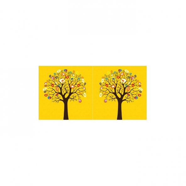 Yellow Tree 2 Parça Kanvas Tablo 80X40 Cm