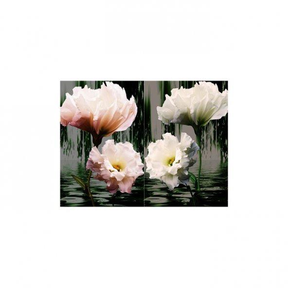İki Parça Çiçek 2 Parça Kanvas Tablo 80X100 Cm