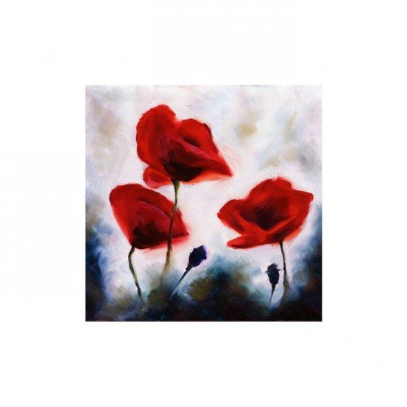 Red Beauty 4 Parça Kanvas Tablo 70X70 Cm
