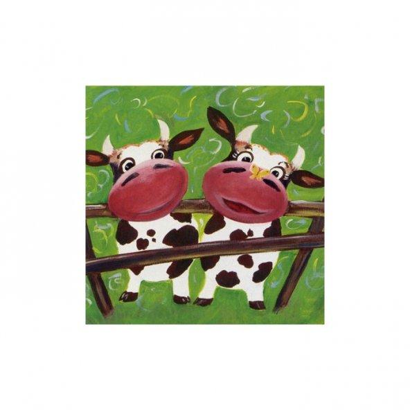 Cows 4 Parça Kanvas Tablo 70X70 Cm