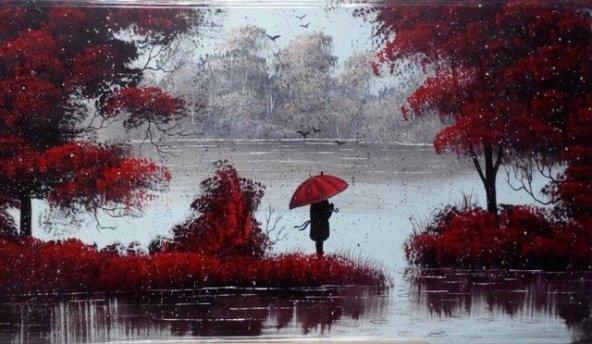 Yağmur & Kırmızı & Kız 70*130 cm Orijinal Yağlı Boya Tablo