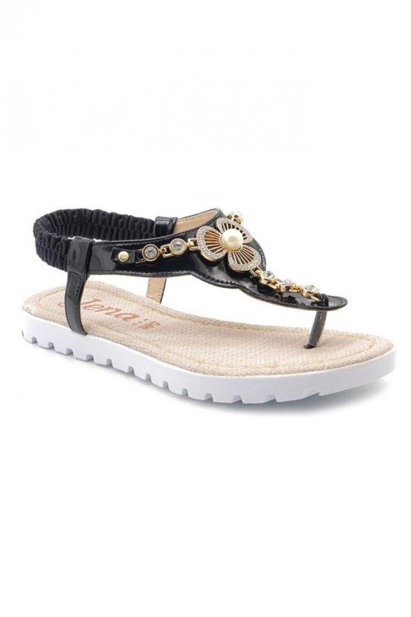 Jena D0012 Siyah Taşlı Lastikli Yeni Sezon Bayan Sandalet