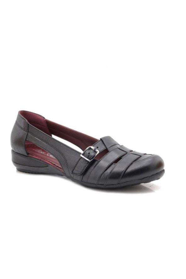 De Carlo Siyah Hakiki Deri Ayakkabı