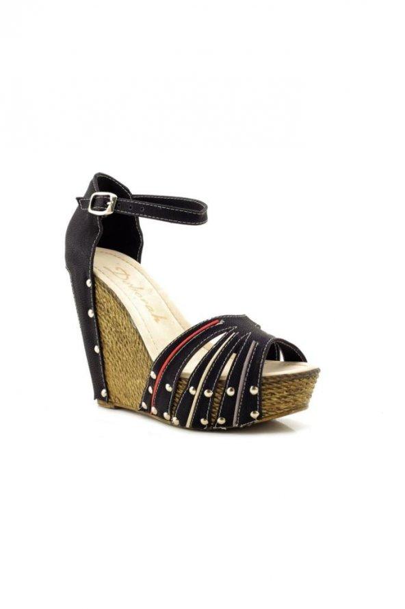 Fantasy Siyah Yüksek Dolgu Topuk Sandalet