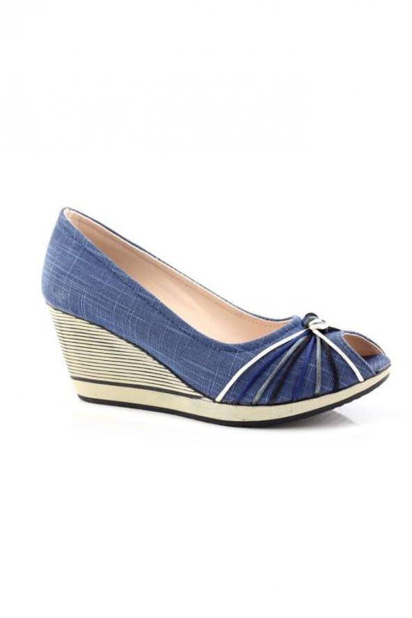 Enesse Keten Lacivert Dolgu Topuk Kadın Ayakkabı