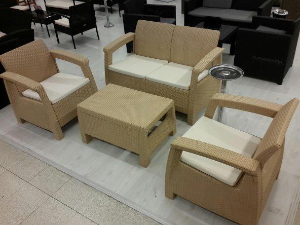 athena rattan bah e balkon set oturma gurubu kum rengi epttavm. Black Bedroom Furniture Sets. Home Design Ideas