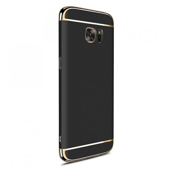 FitCase Samsung S7 EDGE Golden Frame Arka Kapak Siyah