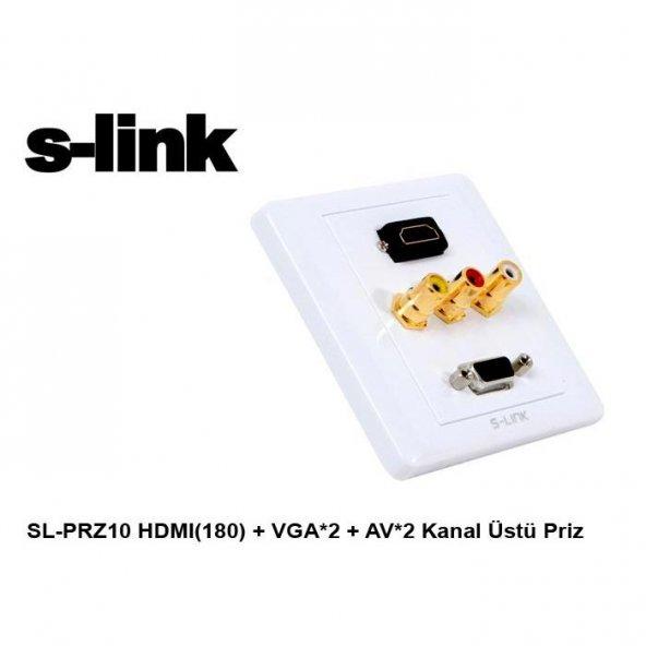 S-link SL-PRZ10 HDMI(180) + VGA*2 + AV*2 Kanal Üstü Priz