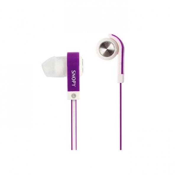 Snopy SN-5020 Mobil Telefon Uyumlu Kulak içi Mor Mikrofonlu Kulaklık