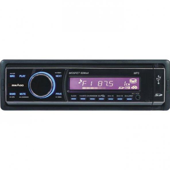 Mikado MC-1430 MP3 Oynatıcı + FM Radyo + Kafa Çıkmalı Uz.Kum. Oto Teyp