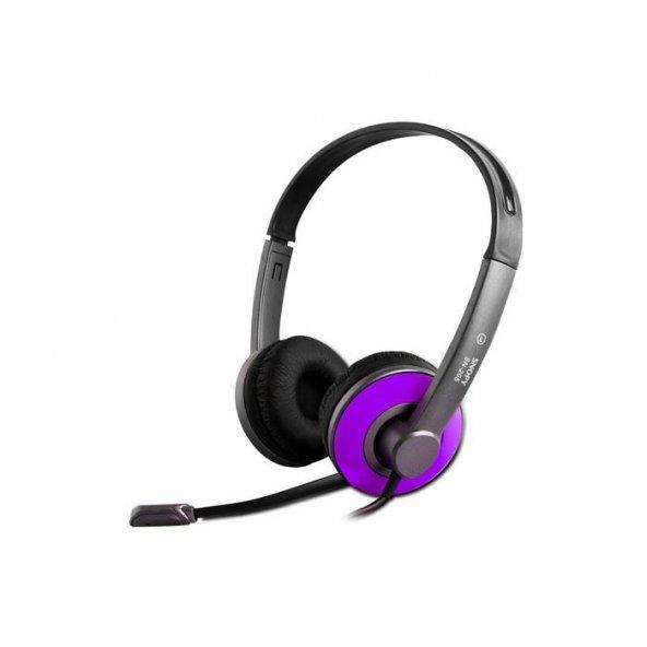 Snopy SN-205 Mor Mikrofonlu Kulaklık