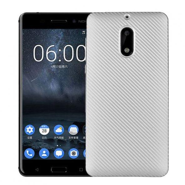 FitCase Nokia 6 Carbon Kaplama Arka Kapak Silver