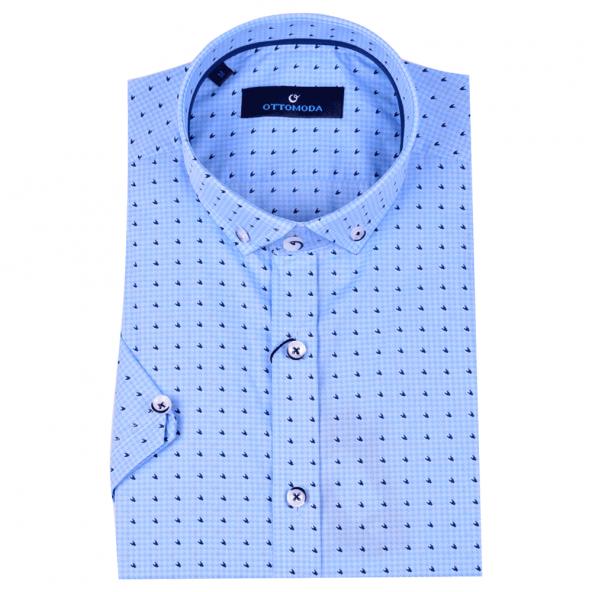 Ottomoda Desenli kısa kollu mavi erkek gömlek