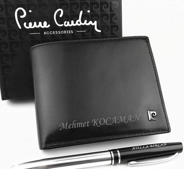 Kişiye Özel Pierre Cardin Gerçek Deri Cüzdan + Kalem HEDİYELİ