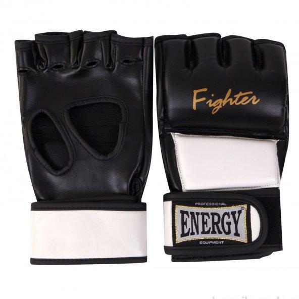 Energy MMA Fighter Siyah Beyaz Unisex Boks Eldiveni-MMA-F