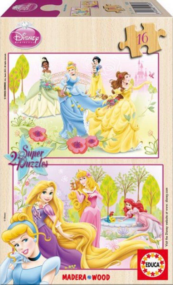 Educa 2x16 Parça Çocuk Puzzle Disney Prensesler