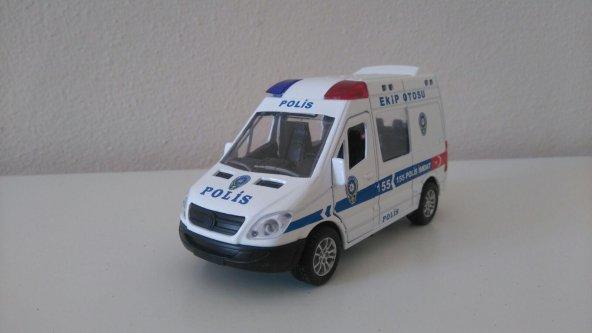 Sesli Ve Işıklı Model Polis Ekip Otosu 1:40 Ölçek