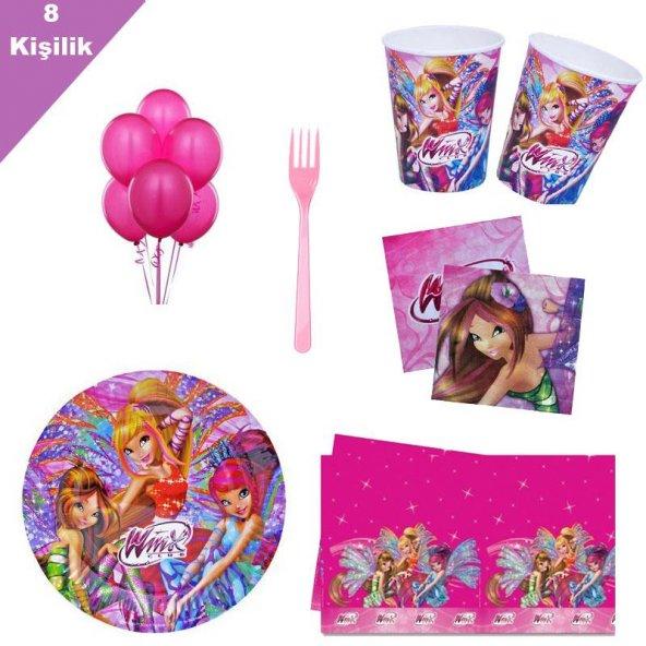 Winks 8 Kişilik 6 Parça Doğum Günü Seti malzemeleri Winx