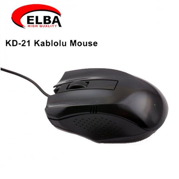 ELBA KD-21 SİYAH KABLOLU MOUSE 800DPI