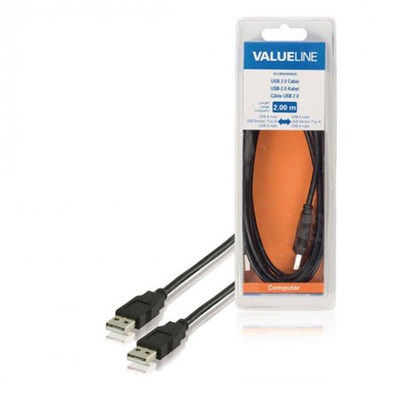 Valuelıne USB 2.0 Kablosu USB A Erkek - USB A Erkek 2.00 m Siyah