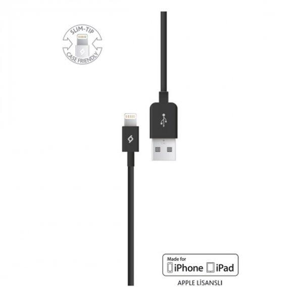 Ttec MFi Lightning -USB - iPhone için Apple Lisanslı Şarj/Senkronizasyon Kablosu 2DKM01S,Siyah