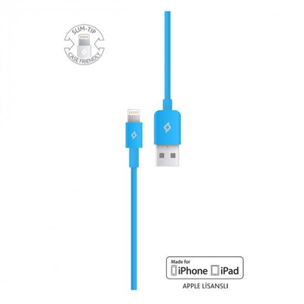Ttec MFi Lightning USB iPhone için Apple Lisanslı Şarj/Senkronizasyon Kablosu 2DKM01M,Mavi