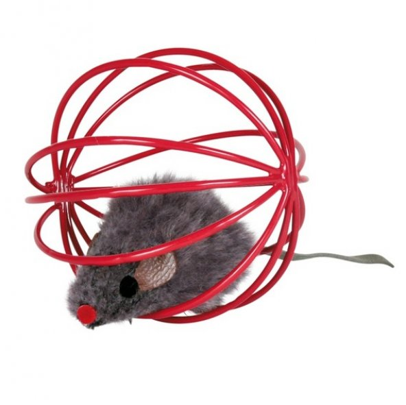 Trixie kedi oyuncağı, top içinde peluş fare 6cm