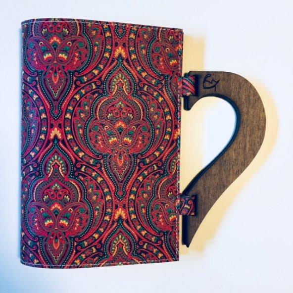OkurGezer Kitap Kılıfı - Şal Desenli Kırmızı Ahşap Saplı