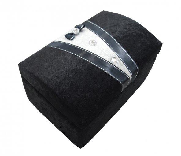 Makyaj Sandığı Damat Figürlü Kadife Siyah